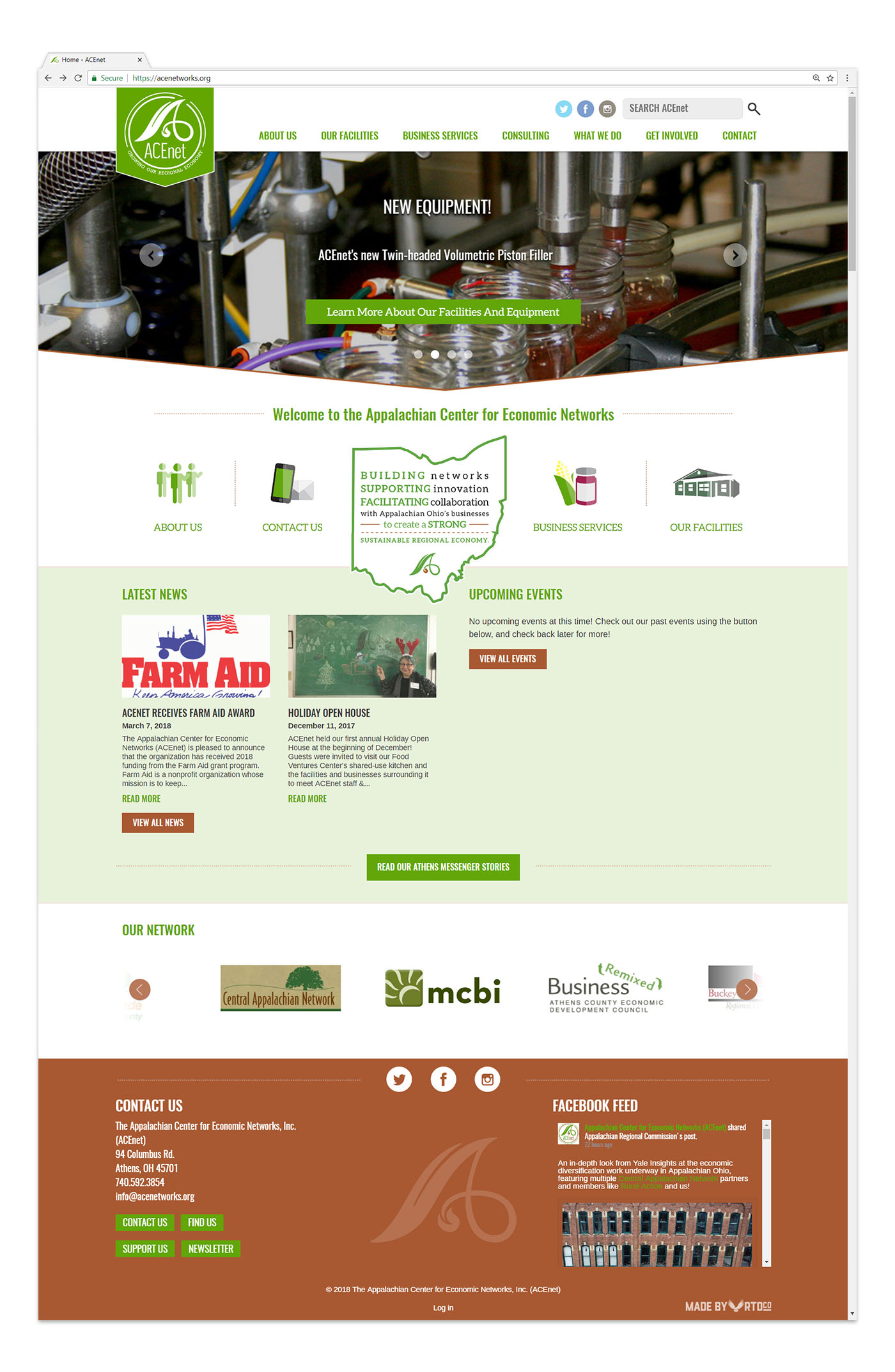 Acnet Athens website design mockup by Red Tail Design