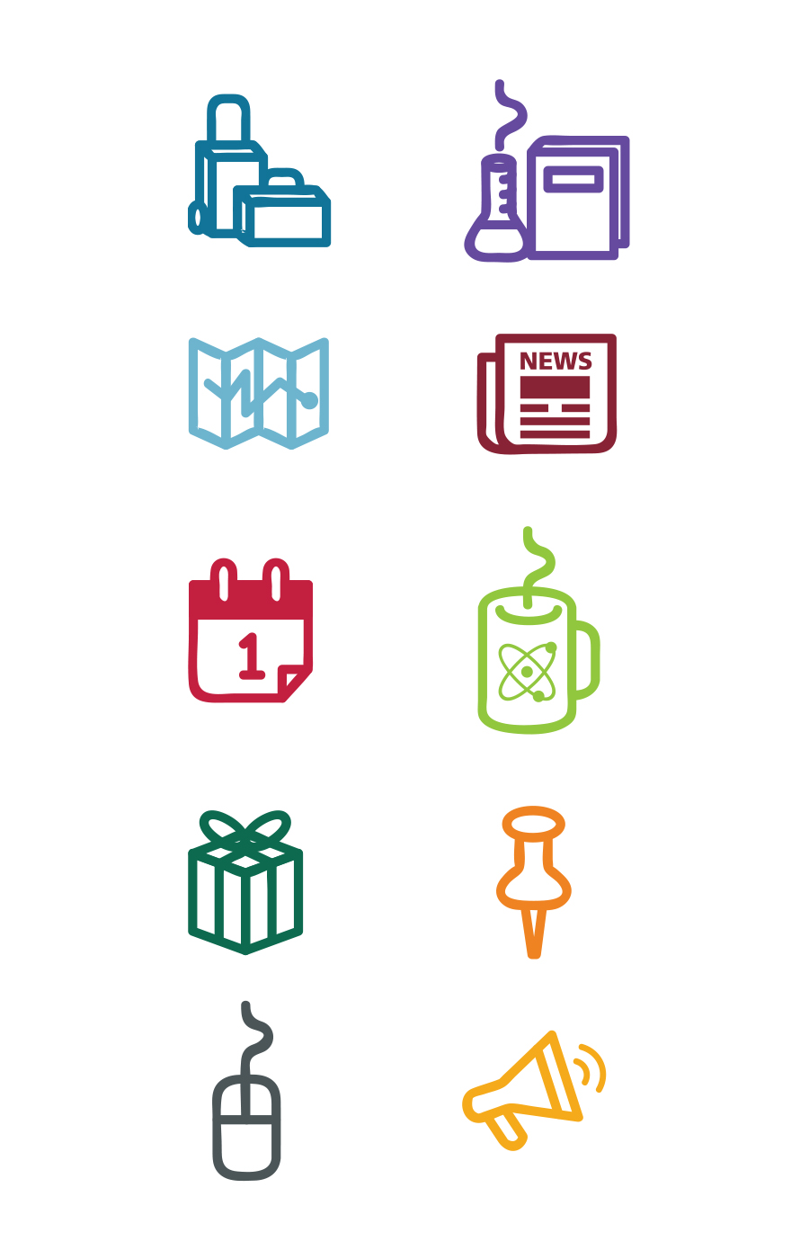 College of Arts and Sciences custom icon set for website