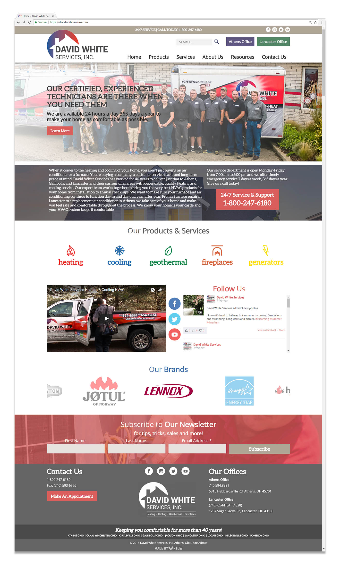 David White Services Heating and Cooling Athens Ohio website design mockup by Red Tail Design
