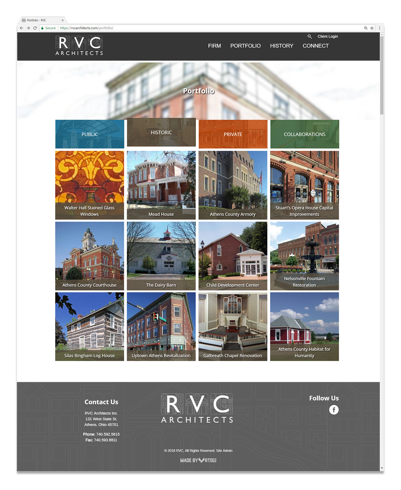 RVC Architects Athens Ohio website design by Red Tail