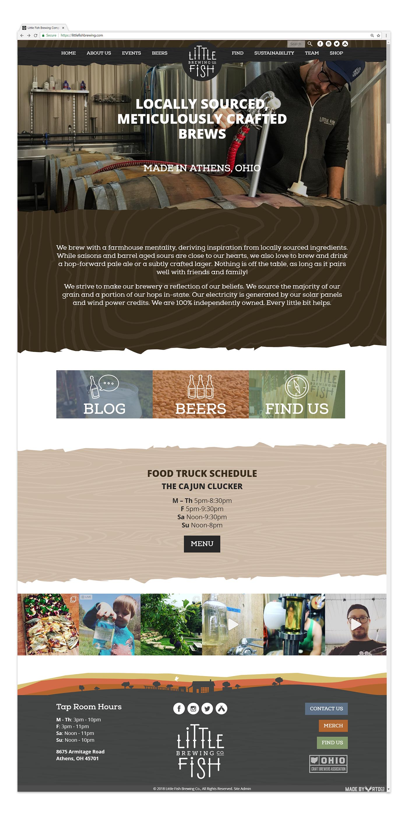 Little Fish Brewing Website mockup by Red Tail Design Co