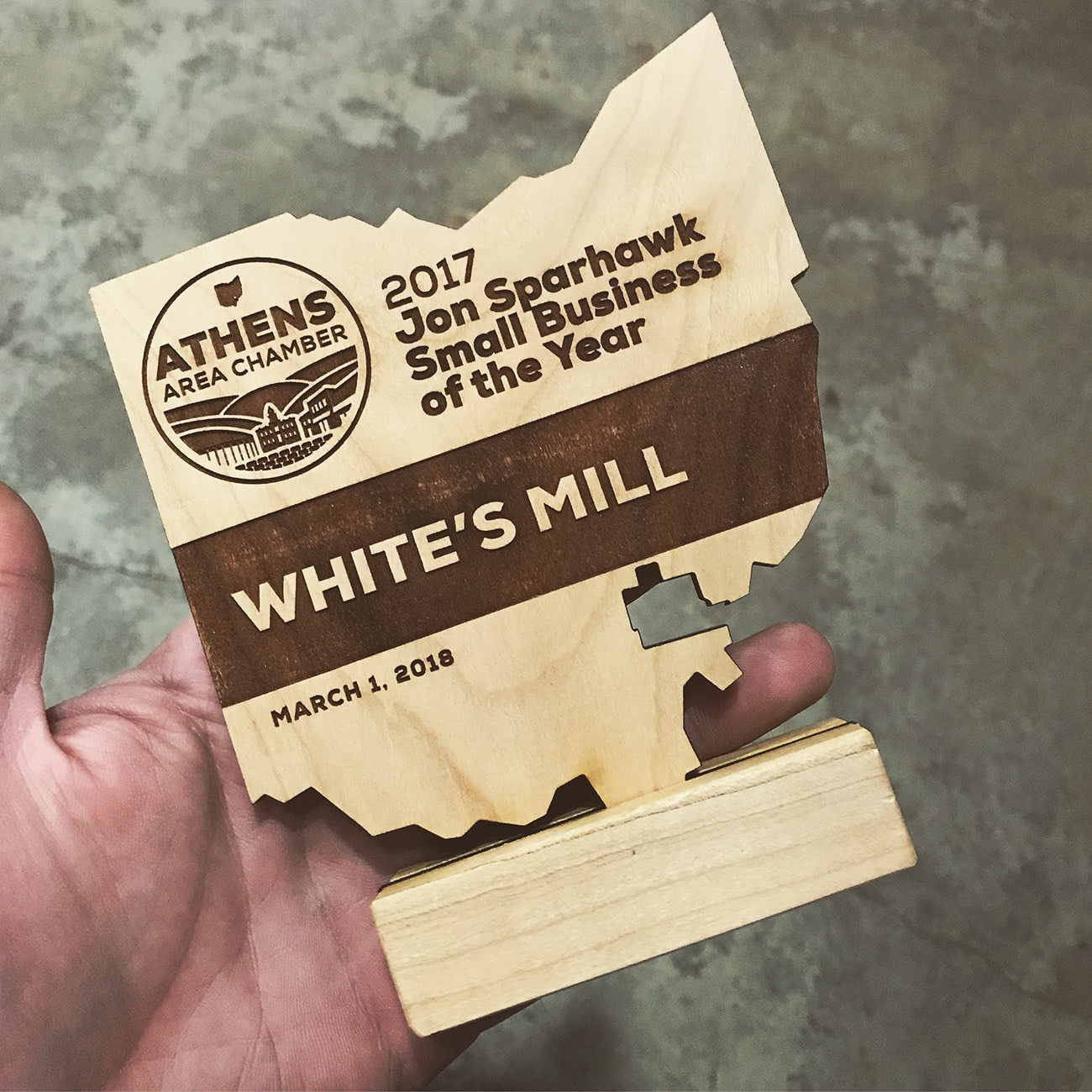 Athens Area Chamber Jon Sparhawk award to White's Mill by Red Tail Design
