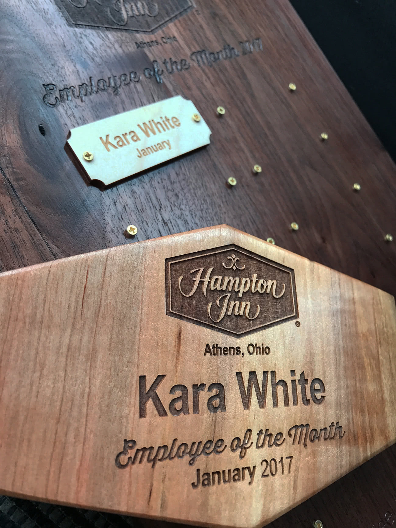 Hampton Inn Employee of the Month plaque and award by Red Tail Design