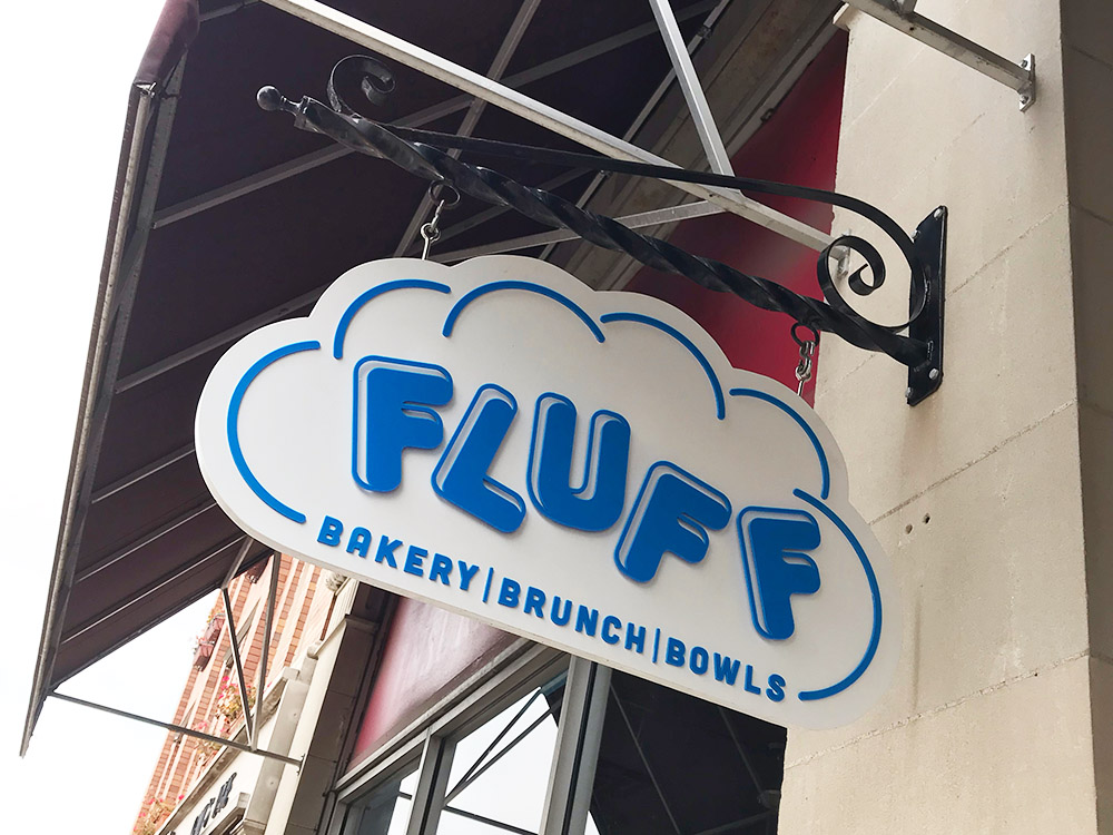 Fluff Bakery Athens signage by Red Tail Design