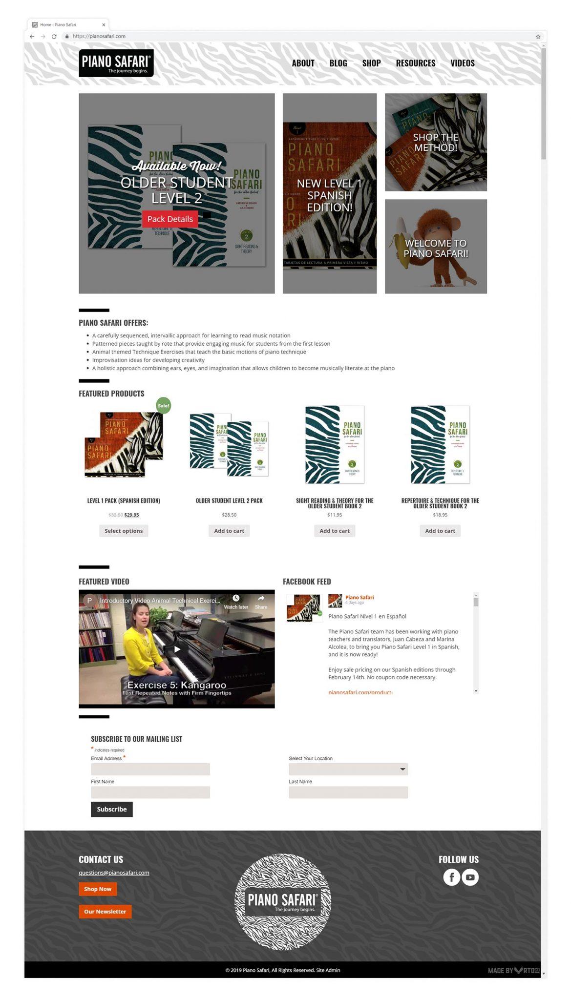 Piano Safari website homepage mockup