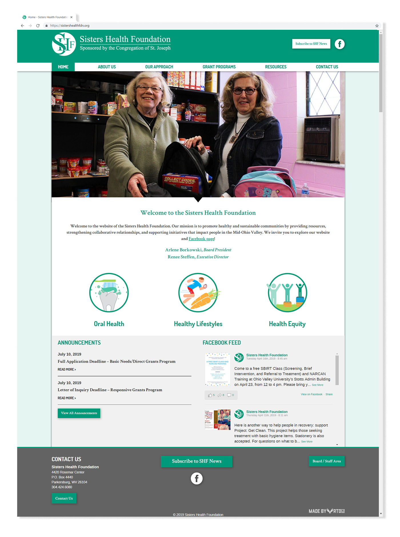 Sisters Health Foundation website homepage mockup by Red Tail Design.