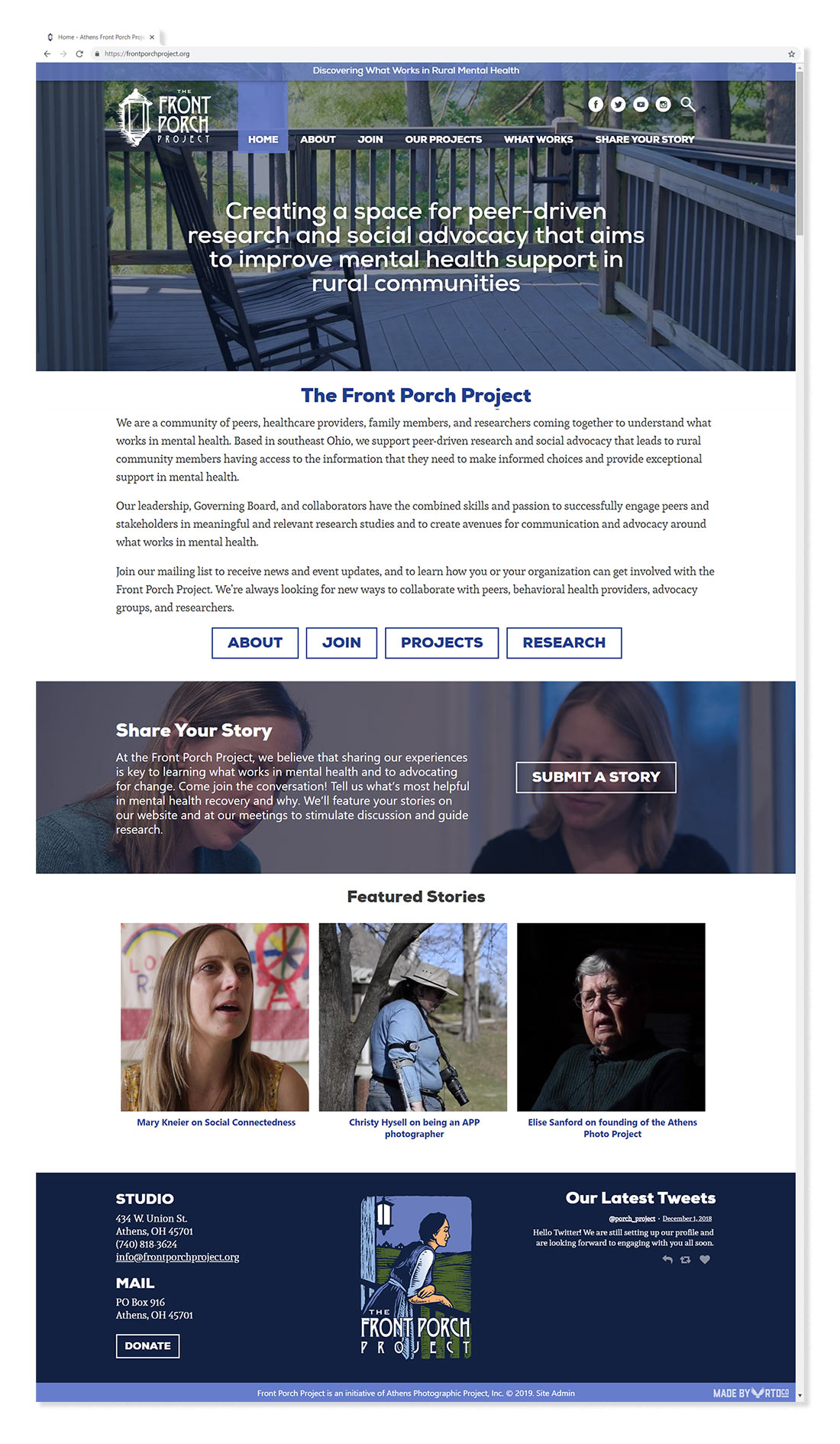 Front Porch Project website homepage mockup designed by Red Tail Design.